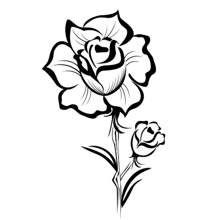 stock clip art icon: Black Rose stylized stroke