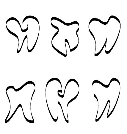 Set of tooth silhouettes logo Vector