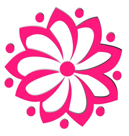 Pink flower lotus logo Vector