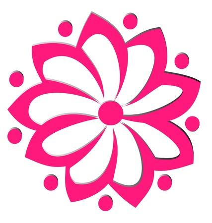 Pink flower lotus logo Vector