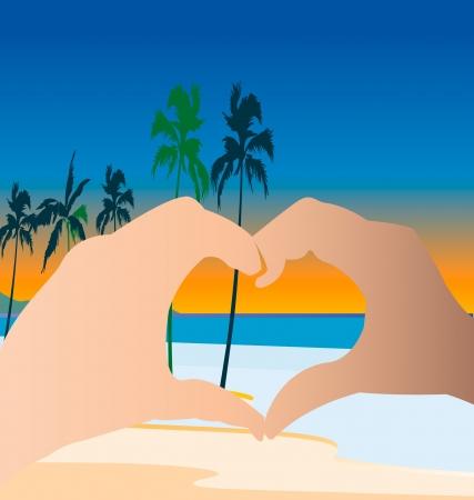 Hands doing a heart on the beach logo Stock Vector - 13967065