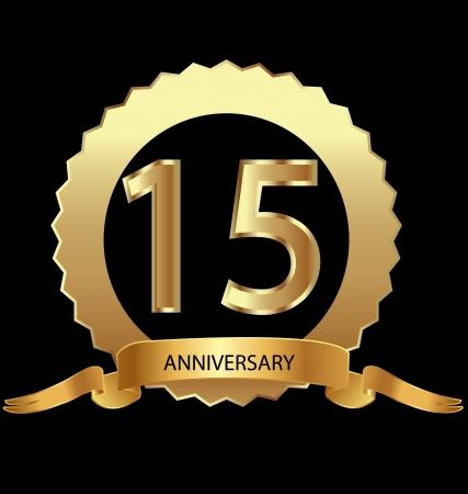 aniversario: 15 � aniversario en el sello de oro Vectores