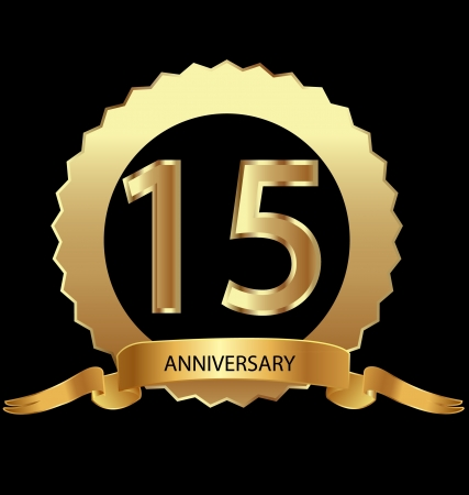 anniversary party: 15 � anniversario in oro sigillo