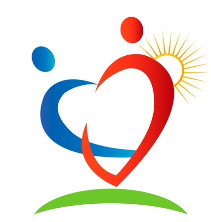 Hearts figures sun and beam logo Vector