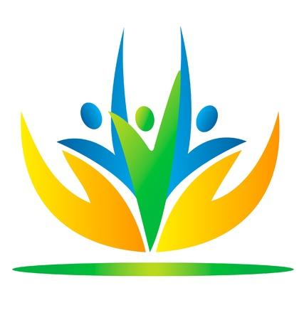 manos logo: Las manos que toman las personas de atención logotipo
