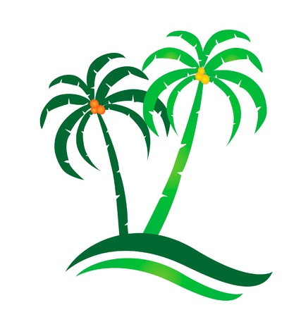 Tropical island logo Stock Vector - 13975514
