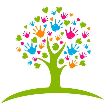 arbol de la vida: �rbol con las manos y el logotipo de corazones cifras