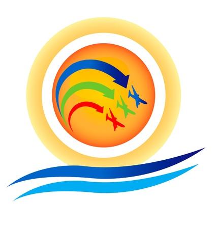 Vliegtuigen tonen team logo Stock Illustratie