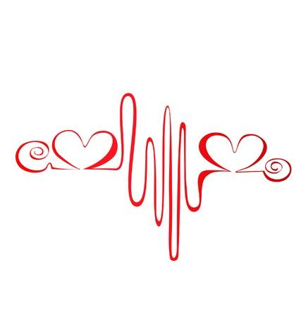 latidos del coraz�n: Latido del coraz�n o el logotipo de electrocardiograma Vectores