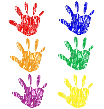 Gekleurde grunge vintage handen voorraad