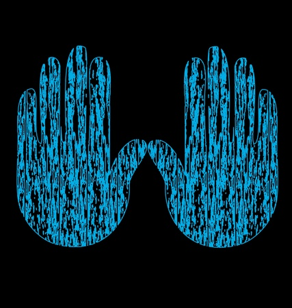 Blue grunge hands vector Vector