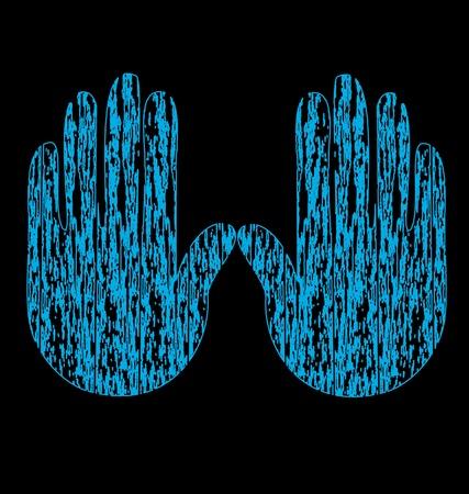 Blue grunge hands vector Vector