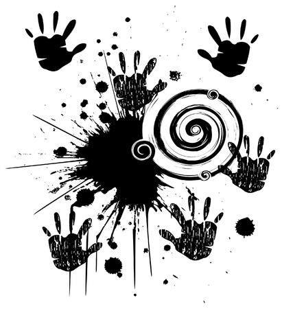 Hands and ink grunge style stock Vector