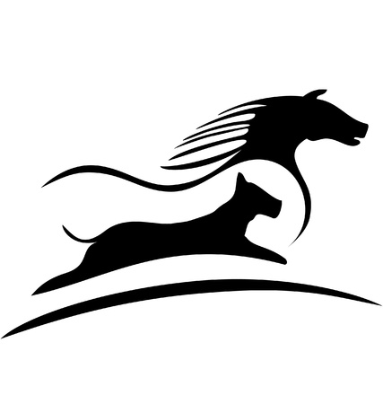 chevaux noir: Cheval et le logo de courses de chiens Illustration