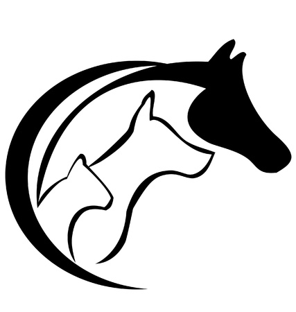 horses in the wild: Horse dog and cat logo silhouette Illustration
