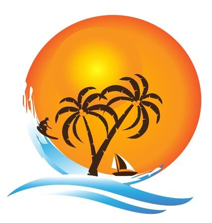 Tropical island paradise logo Vectores
