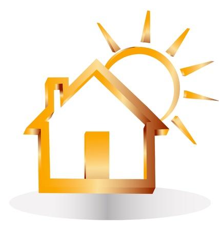 logotipo de construccion: 3d de oro la casa y el sol