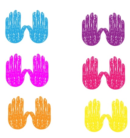 Colored grunge vintage hands  Vector