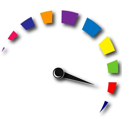 Snelheid kilometerteller kleurrijk logo Stock Illustratie
