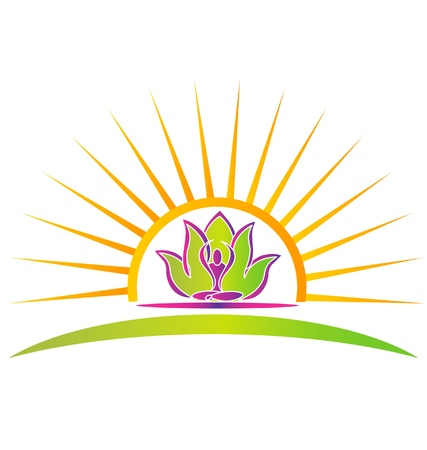 Sun, lotus en yoga figuur logo