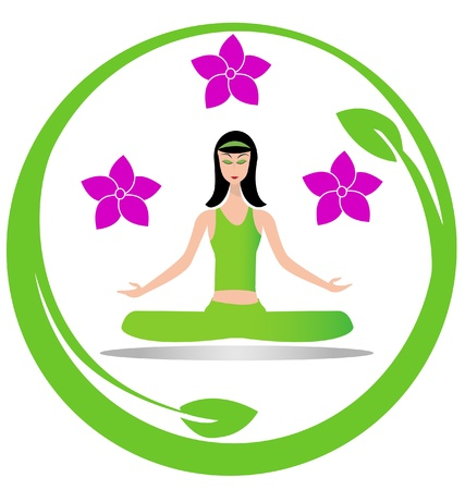 Yoga meditation girl logo   Vector