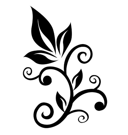 Floral swirl ornament element  Vectores