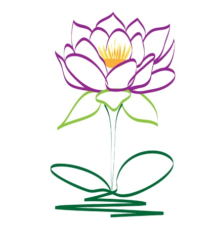 Purple lotus flower  Vector