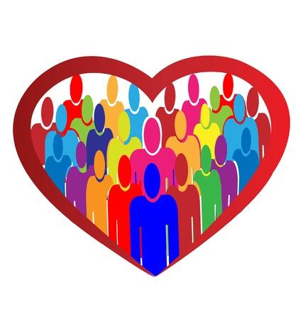caring hands: Diversiteit mensen hart logo