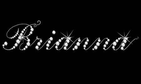 Brianna girl name with diamonds bling bling  Vector
