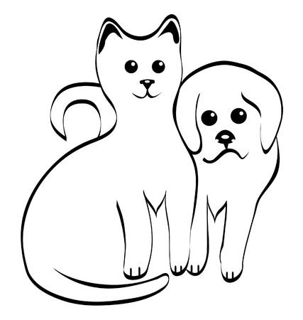 키티와 강아지 실루엣