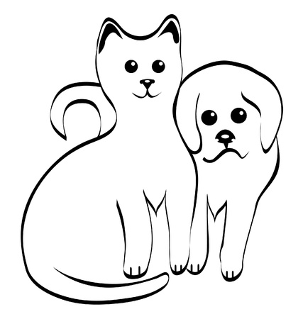 Kitty and doggy silhouettes  Vector