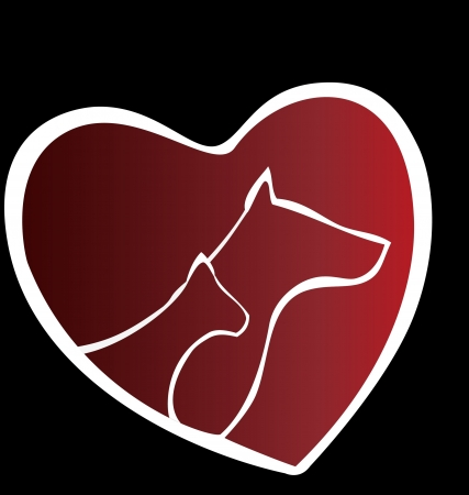 Cat and dog in a heart logo
