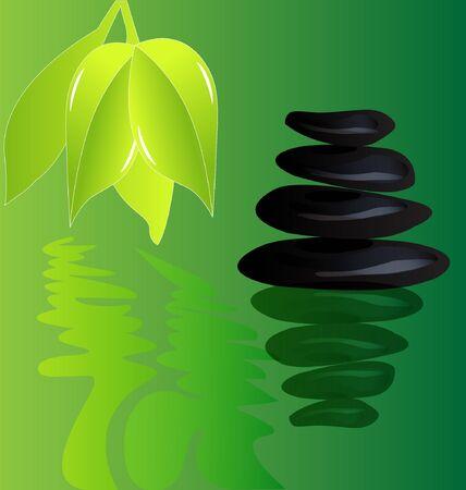 yoga outside: Zen Stone black pyramid  Illustration