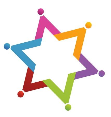 Teamwork ster mensen logo Stock Illustratie