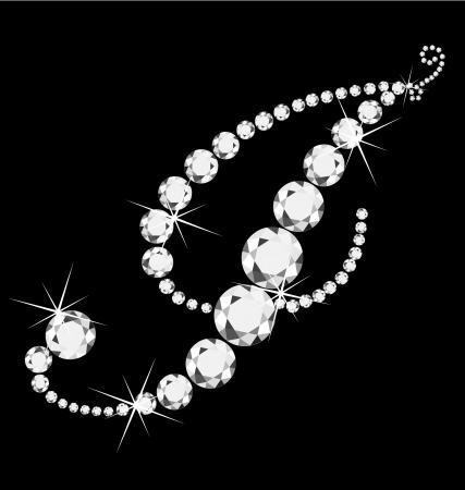 diamond jewelry: I Corsivo lettera con diamanti