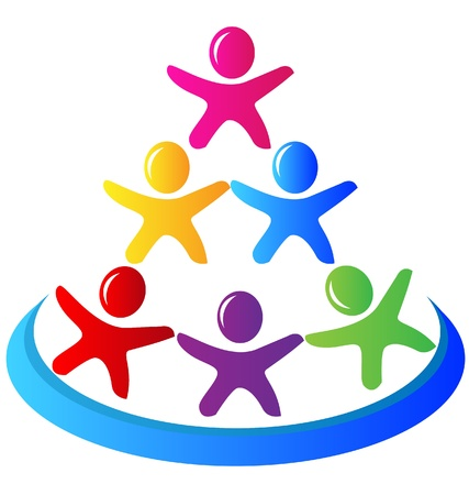 Teamwork pyramid people logo vector