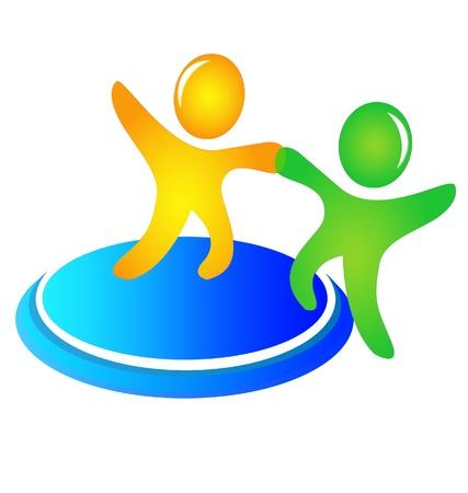 solidaridad: El trabajo en equipo logotipo de ayudar a los vectores Vectores