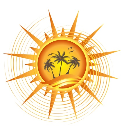 Gold tropical sun logo design vector