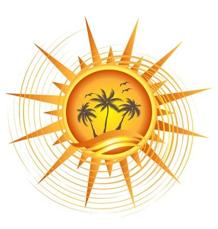słońce: Złoty tropikalne słońce wektor projektowanie logo