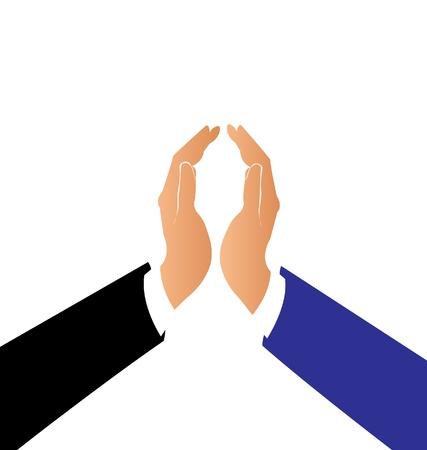 pacto: Las manos en un vector de pacto de logotipo de la empresa Vectores
