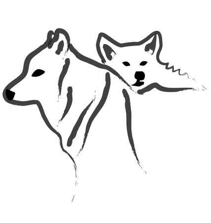 Dogs or Wolfs silhouettes vector Vector