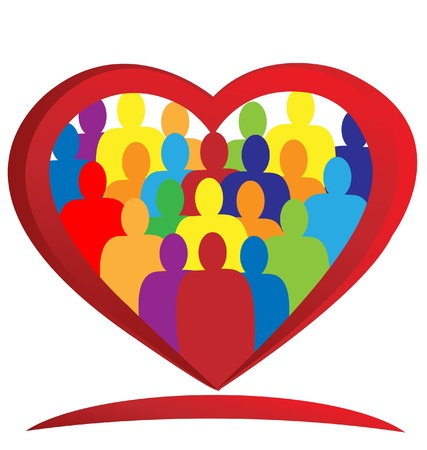 multiracial: Teamwork heart diversity people logo vector