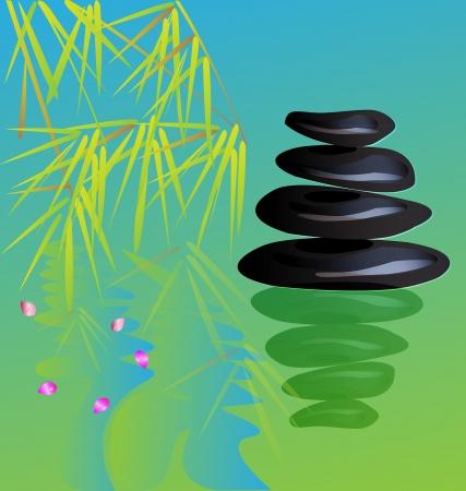 yoga outside: Zen stone yoga background vector