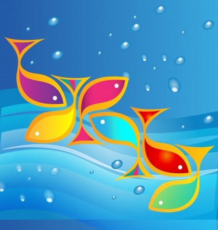Fish and sea background Vettoriali