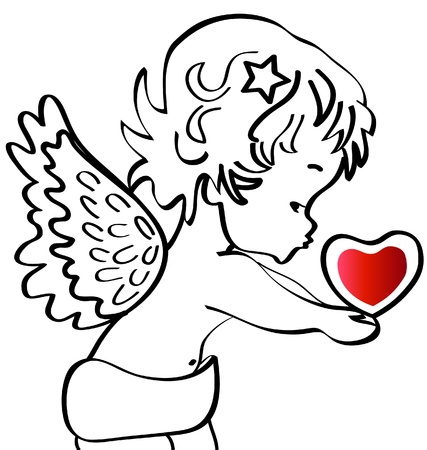 Angel with a heart silhouette  Illustration