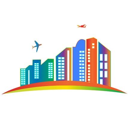 buildings on water: Construcci�n de rascacielos de la ciudad el logotipo Vectores
