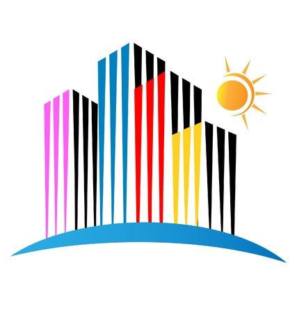미드 타운: 현대적인 건물 로고 일러스트