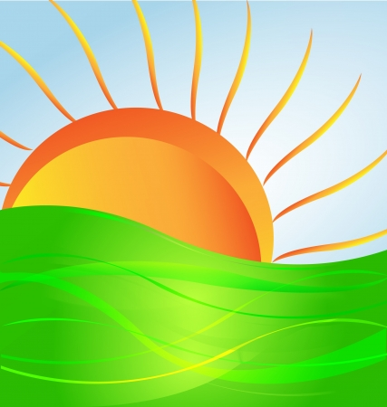 Sun and green hill vector