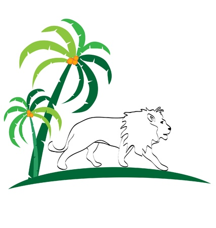male palm: Lion silhouette and trees logo Illustration