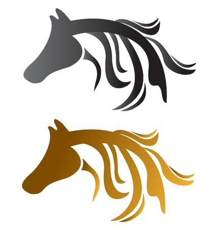 carreras de caballos: Caballos de cabeza vectores marr�n y negro Vectores